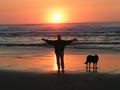 Ed and Max Walking at Sunset on Bandon Beach thumbnail